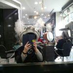 頭上から噴煙中につき@イタリアの美容院